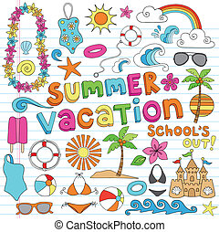 vacanza estate, hawaiano, doodles