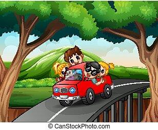 vacanza famiglia, cavalcate, automobile, felice