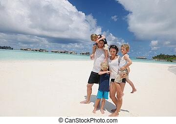 vacanza, famiglia, felice
