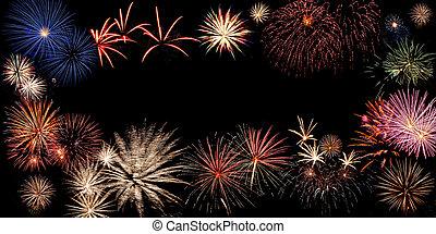 vacanza, fireworks, bandiera