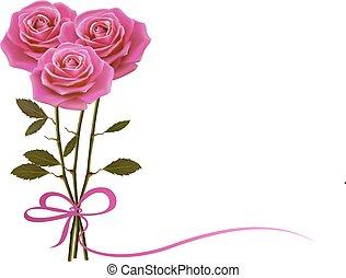 vacanza, fondo, con, rosa, e, uno, bow., vector.