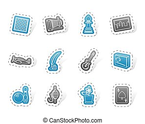 vacanza, hobby, ozio, icone