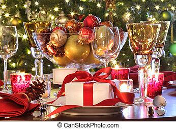 vacanza, montaggio tavola, con, rosso, ribboned, regalo