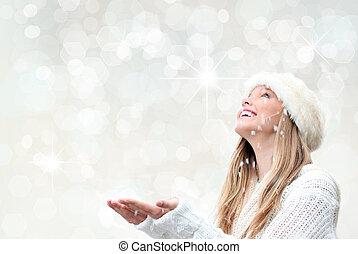 vacanza natale, donna, con, neve