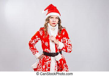 vacanza, natale, e, scherzo, concetto, -, serio, donna arrabbiata, in, il, immagine, di, uno, cattivo, santa, bianco, fondo