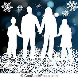 vacanza, natale, famiglia, felice