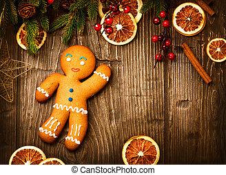 vacanza natale, fondo., uomo pan zenzero, sopra, legno