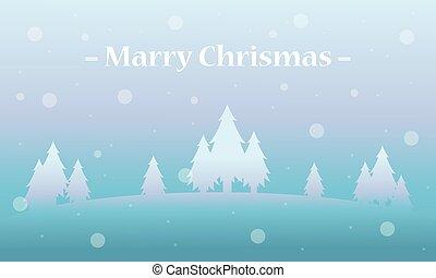 vacanza, paesaggio inverno, albero, natale