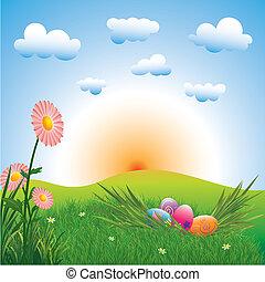 vacanza, pasqua, colorito, uova