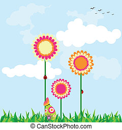 vacanza, pasqua, primavera, illustrazione