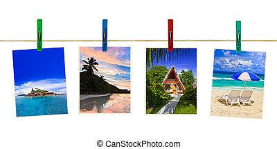 vacanza, spiaggia, fotografia, su, clothespins