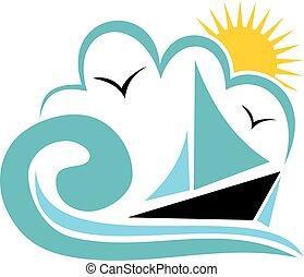 vacanza spiaggia, logotipo, disegno, sagoma, vettore
