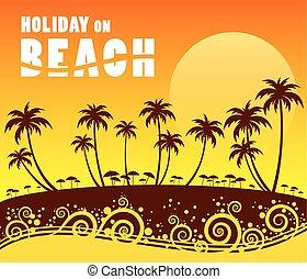 vacanza, su, spiaggia