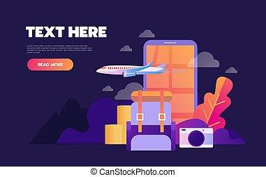 vacanza, vacanza estate, prenotazione, vettore, appartamento, linea, icons., illustration., concetto