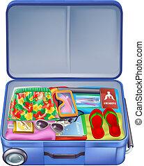 vacanza, vacanza, pieno, valigia