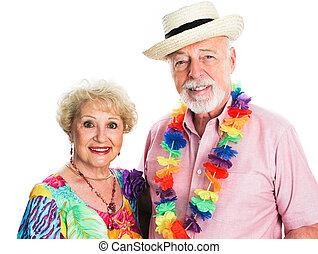 vacanza, volerci, coppia, anziano