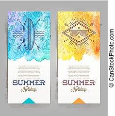 vacanze estate, e, viaggiare, bandiere