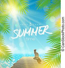 vacanze, vettore, estate, disegno
