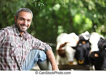 vacas, agricultor