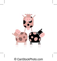 vacas, divertido, diseño, su