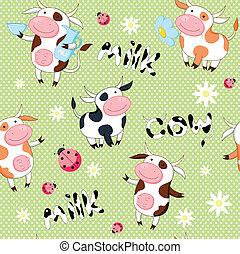 vacas, lindo, vector, seamless, plano de fondo