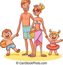 vacation., 夏, レクリエーション, 家族, 幸せ
