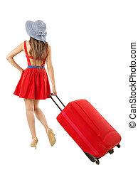 vacation., 女, travel., 引く, 夏, スーツケース, 休日, 赤