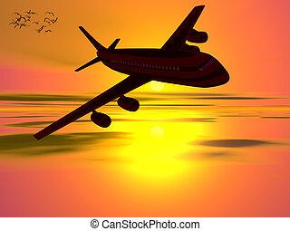 vacation., 飛行機, 行く