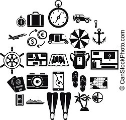 Vacation abroad icons set, simple style - Vacation abroad...
