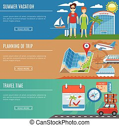 Vacation And Travel Flat Banners Set