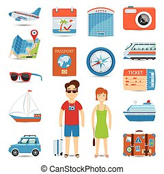 Vacation And Travel Flat Icons Set