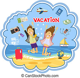 Vacation at the seaside vector illustration