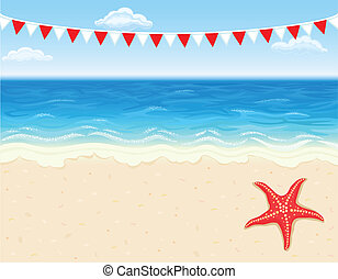 Vacation at tropical beach with white sands and starfish....