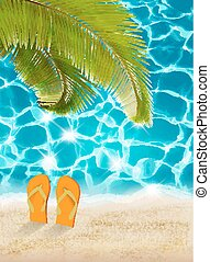 Vacation background. Beach with palm trees and blue sea. Vector.