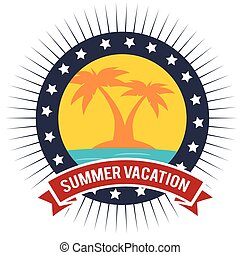 vacation badge palm tree beach graphic