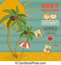 Vacation Card in retro Style