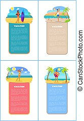 Vacation Collection of Posters Vector Illustration