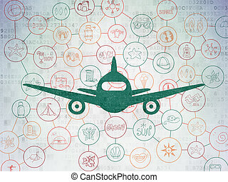 Vacation concept: Aircraft on Digital Data Paper background