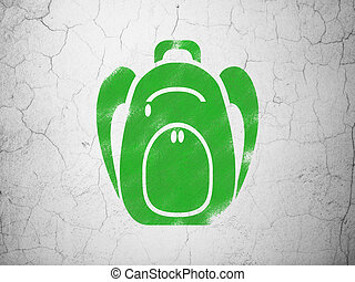 Vacation concept: Backpack on wall background
