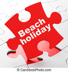 Vacation concept: Beach Holiday on puzzle background