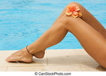 Vacation Concept. Legs In The Swimming Pool