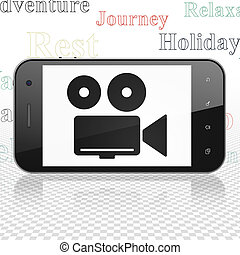 Vacation concept: Smartphone with Camera on display