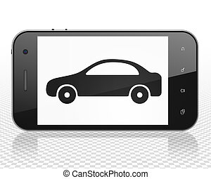 Vacation concept: Smartphone with Car on display