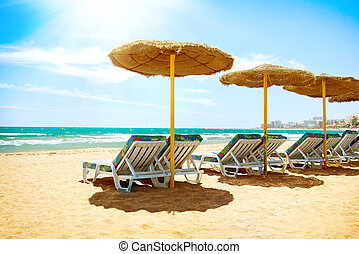 Vacation Concept. Spain. Beach Costa del Sol. Mediterranean...
