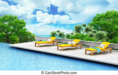 Vacation concept. Swimming pool with loungers and tree on a...