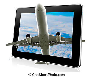 Vacation concept: Tablet Pc Computer with aeroplane