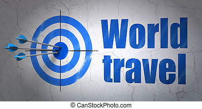 Vacation concept: target and World Travel on wall background