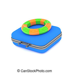 Vacation concept with a blue luggage and floating ring, 3d render