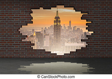 Vacation concept with brick wall