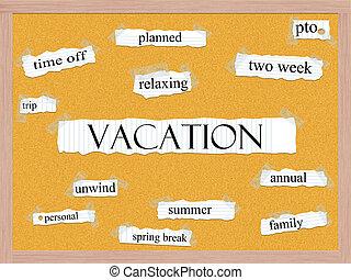 Vacation Corkboard Word Concept